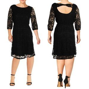 ING + | Floral Lace A Line 3/4 Sleeve Dress